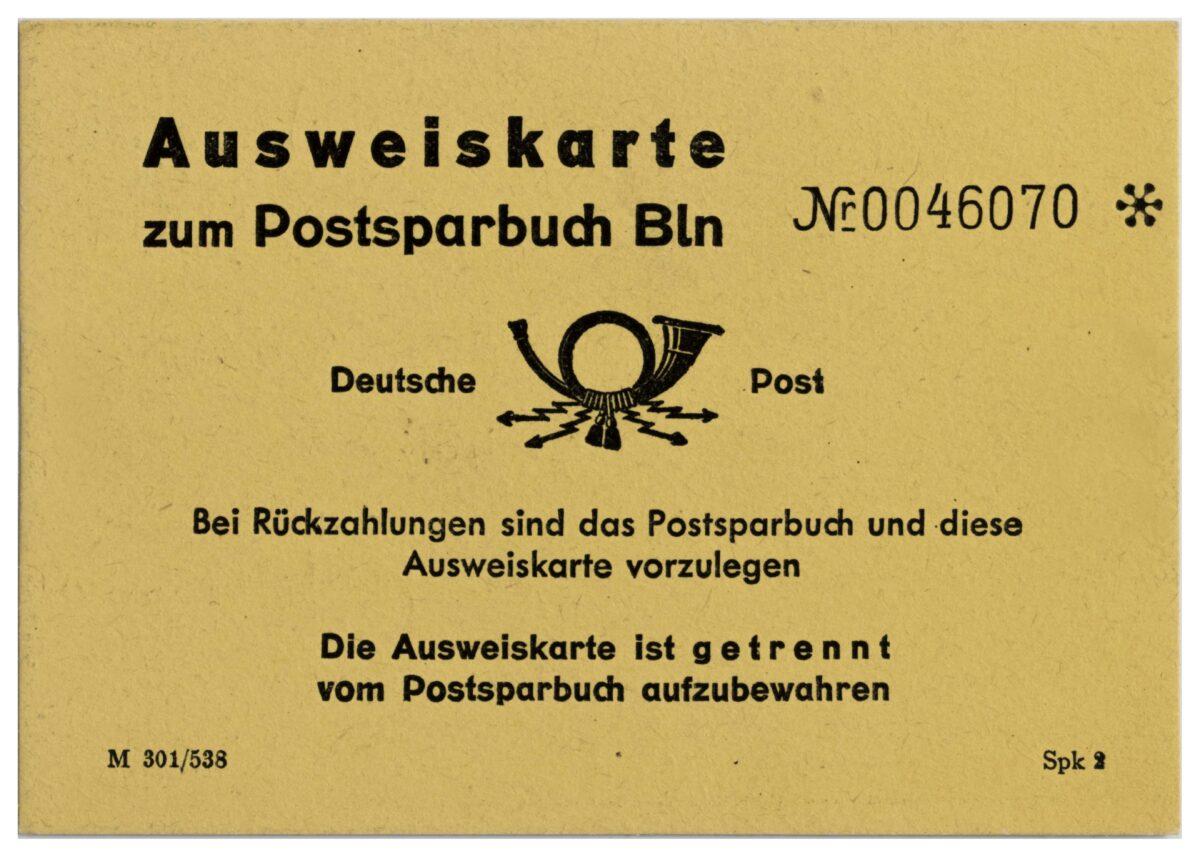 Postsparbuch der Deutschen Post (DDR) von 1951