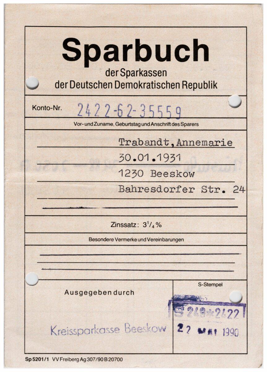 Sparbuch der Sparkassen der Deutschen Demokratischen Republik