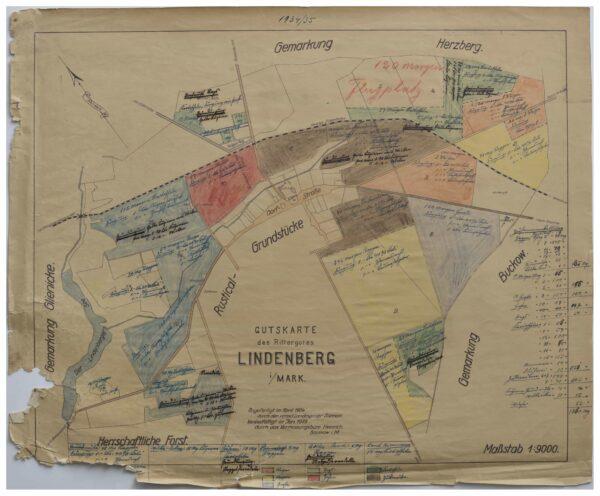 Gutskarte des Rittergutes Lindenberg i. Mark von 1934