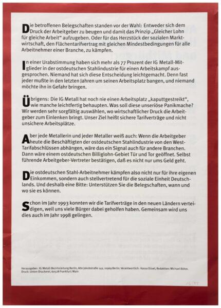Rückseite des Flugblattes »Auf ein Wort, liebe Mitbürgerinnen und Mitbürger!«